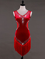 cheap -Latin Dance Dresses Women's Performance Velvet Crystals/Rhinestones Tassel Sleeveless High Dress
