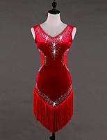 abordables -Danse latine Robes Femme Utilisation Velours Cristaux/Stras Gland Sans Manches Taille haute Robe