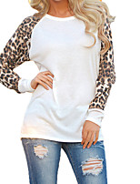 cheap -Women's Simple Cotton Slim T-shirt - Solid Colored Leopard