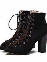 cheap -Women's Shoes Nubuck leather Spring Fall Comfort Fashion Boots Boots Chunky Heel Booties/Ankle Boots for Casual Black