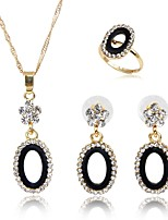 cheap -Women's Gold Plated Jewelry Set 1 Necklace 1 Ring Earrings - Classic Fashion Gold Jewelry Set Bridal Jewelry Sets For Wedding Birthday