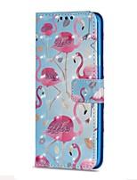 baratos -Capinha Para Samsung Galaxy S9 S9 Plus Porta-Cartão Carteira Com Suporte Flip Magnética Capa Proteção Completa Flamingo Rígida PU Leather