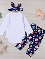 cheap -Baby Girls' Daily Sports Floral Clothing Set, Cotton Spring Fall Cute Casual White