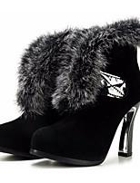 Недорогие -Жен. Обувь Замша Зима Осень Удобная обувь Модная обувь Ботинки На толстом каблуке Ботинки для Повседневные Черный Темно-коричневый Вино
