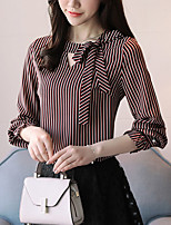 preiswerte -Damen Gestreift T-shirt Schleife Polyester
