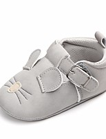 cheap -Girls' Shoes Leatherette Spring Fall Crib Shoes First Walkers Comfort Flats Bowknot Magic Tape for Casual Outdoor Dark Grey Light Grey