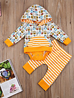 cheap -Baby Unisex Daily Sports Striped Print Clothing Set, Cotton Spring Fall Simple Cute Yellow