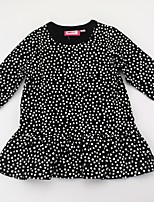 cheap -Girl's Daily Print Color Block Dress, Cotton Spring Fall Long Sleeves Cute Active Black Red