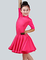 cheap -Latin Dance Dresses Girls' Performance Spandex Ruching Half Sleeves Dress