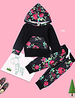 cheap -Baby Unisex Daily Floral Clothing Set, Cotton Spring Fall Cute Casual Black