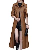 Недорогие -Для женщин Повседневные Зима Осень Кожаные куртки Рубашечный воротник,На каждый день Однотонный Длинная Длинные рукава,Полиуретановая