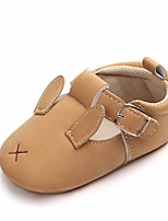 cheap -Girls' Shoes Leatherette Spring Fall Crib Shoes First Walkers Comfort Flats Bowknot Magic Tape for Casual Outdoor Yellow Brown