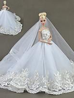 Недорогие -Платья Платья Платье Для Кукла Барби Белый Тюль Кружево Шелково-шерстяная ткань Платье Для Девичий игрушки куклы