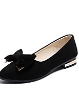 cheap -Women's Shoes Suede Spring Comfort Flats Low Heel Bowknot for Casual Black Green Khaki