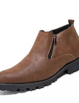 cheap -Men's Shoes PU Spring Fall Fashion Boots Boots Mid-Calf Boots for Casual Brown Yellow Black