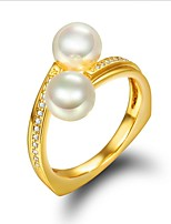 cheap -Women's Cubic Zirconia Pearl Pearl Zircon Gold Plated Knuckle Ring - For Wedding Daily