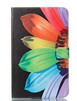 baratos -Capinha Para Samsung Galaxy Tab E 9.6 Carteira Com Suporte Flip Estampada Auto Dormir/Despertar Capa Proteção Completa Flor Rígida PU