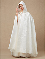 cheap -Sleeveless Lace Satin Wedding Party / Evening Women's Wrap With Lace Cap Splicing Lace-up Capes