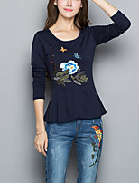 cheap -Women's Simple Chinoiserie Plus Size Cotton Slim T-shirt - Floral, Pleated Embroidered