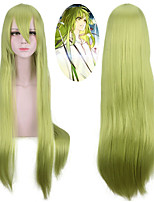 cheap -Synthetic Wig Straight With Bangs Natural Hairline Density Capless Green Halloween Wig Party Wig Lolita Wig Cosplay Wig Synthetic Hair