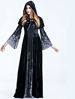 cheap -Vampire Grim Reaper Dress Cloak All Halloween Festival / Holiday Halloween Costumes Black Solid Colored Cool Skulls Black & White