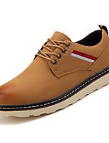 Недорогие -Муж. обувь Искусственное волокно Весна Осень Удобная обувь Туфли на шнуровке для Повседневные Черный Коричневый Хаки