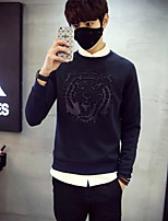 cheap -Men's Daily Solid Round Neck Sweatshirt Regular,Long Sleeves Spring Fall Cotton