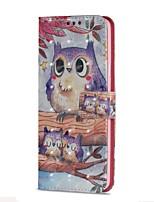 baratos -Capinha Para Samsung Galaxy S9 S9 Plus Porta-Cartão Carteira Com Suporte Flip Magnética Capa Proteção Completa Corujas Rígida PU Leather