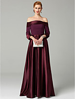 cheap -A-Line Princess Off-the-shoulder Ankle Length Satin Mother of the Bride Dress with Beading Ruching by LAN TING BRIDE®