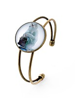 cheap -Men's Women's Cuff Bracelet , Metallic Dresswear Glass Alloy Circle Jewelry Party Going out