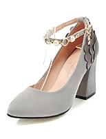 preiswerte -Damen Schuhe Nubukleder Frühling Herbst Komfort Knöchelriemen High Heels Blockabsatz Spitze Zehe Imitationsperle Schnalle Spitze für