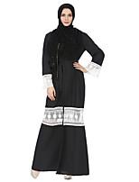 baratos -Mulheres Kaftan Abaya Vestido - Renda, Estampa Colorida Decote V Longo