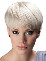 cheap -Straight Pixie Cut Machine Made Human Hair Wigs Natural Hairline Natural Black White Beige Blonde//Bleach Blonde