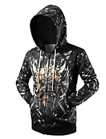 cheap -Men's Daily Sports Geometric Hooded Hoodie Regular,Long Sleeve Fall Cotton