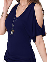 cheap -Women's Flare Sleeve Cotton T-shirt - Solid V Neck