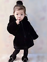 cheap -Unisex Daily Going out Solid Jacket & Coat, Faux Fur Winter Fall Long Sleeves Cute Active Black