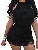 abordables -Femme Moulante Gaine Robe - Dos Nu Glands, Couleur unie A Bretelles Mini