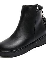 abordables -Femme Chaussures Gomme Hiver Automne boîtes de Combat Bottes Talon Bottier Bout rond pour De plein air Noir