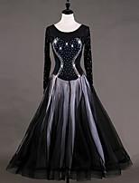 cheap -Ballroom Dance Dresses Women's Performance Organza Velvet Chiffon Tiered Crystals/Rhinestones Long Sleeves Dress