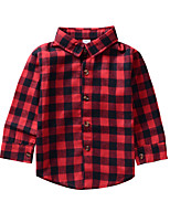 cheap -Unisex Daily Holiday Print Plaid Blouse, Nylon Spring Fall Long Sleeves Simple Casual Red
