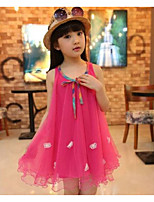 cheap -Girl's Holiday Going out Solid Jacquard Dress, Rayon Spring Summer Sleeveless Cute Street chic Fuchsia
