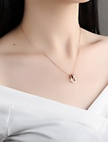 cheap -Women's Heart Cubic Zirconia Rhinestone Rose Gold Pendant Necklace - Simple Elegant Heart Rose Gold Necklace For Wedding Evening Party