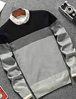 Недорогие -Муж. Полоски Пуловер,Повседневные Длинные рукава Круглый вырез Осень