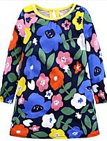 abordables -Robe Fille de Quotidien Vacances Fleur Coton Mignon Décontracté Bleu