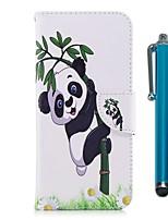 preiswerte -Hülle Für Apple iPhone X iPhone 8 Plus Kreditkartenfächer Geldbeutel mit Halterung Flipbare Hülle Magnetisch Ganzkörper-Gehäuse Panda Hart