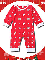 cheap -Baby Unisex Holiday Going out Print One-PiecesCotton Spring Fall Cute Active Long Sleeve Red
