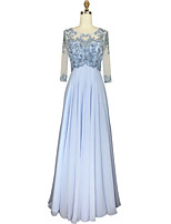 cheap -Ball Gown Princess Jewel Neck Chiffon Graduation Prom Dress with Beading Crystal Detailing by TS Couture®