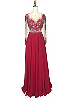 cheap -A-Line Ball Gown Illusion Neckline Chiffon Prom Formal Evening Dress with Beading Appliques Crystal Detailing by TS Couture®