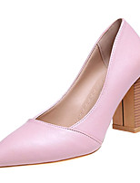 cheap -Women's Shoes PU Spring Fall Comfort Heels Chunky Heel Pointed Toe for Casual Black Brown Pink
