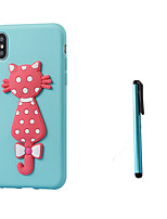 baratos -Capinha Para Apple iPhone X iPhone 8 Translúcido Estampada Capa traseira Gato Macia TPU para iPhone X iPhone 8 Plus iPhone 8 iPhone 7